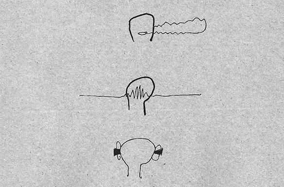 """""""Lärm und Kopf"""" - Auschnitt aus einer Illustration von Lisa-Sophie Winklhofer in tortuga #2"""