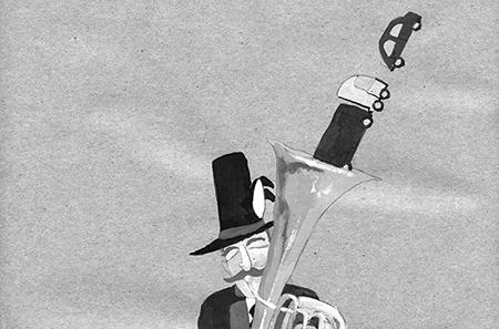 Ausschnitt einer Zeichnung von Leonhard Müllner. Schönberg op. A13 - AMS Arthofer Müllner Solutions (Leonhard Müllner, Dirk Art Arthofer)