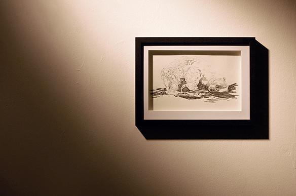 Ausstellungsansicht: Illustration aus der Graphic Novel Bergen - Silke Müller