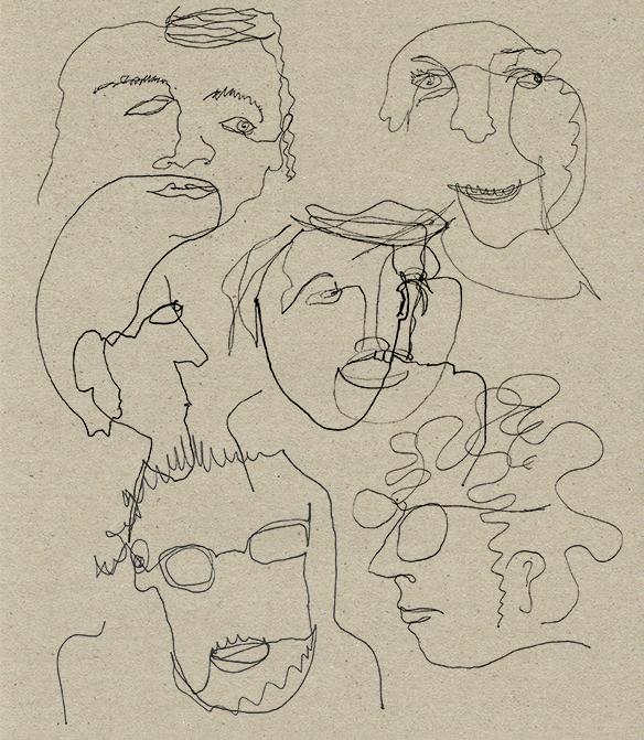 kollektives Zeichnen/Portraits: Adina F. Camhy, Robin Klengel, Martin Kollmann, Kathi Pressl, Lisi Pressl, Philipp Markus Schörkhuber (nicht am Bild), Eleonora Wenzel